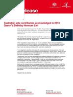 MEDIA RELEASE Queen's Birthday Honours List 2013