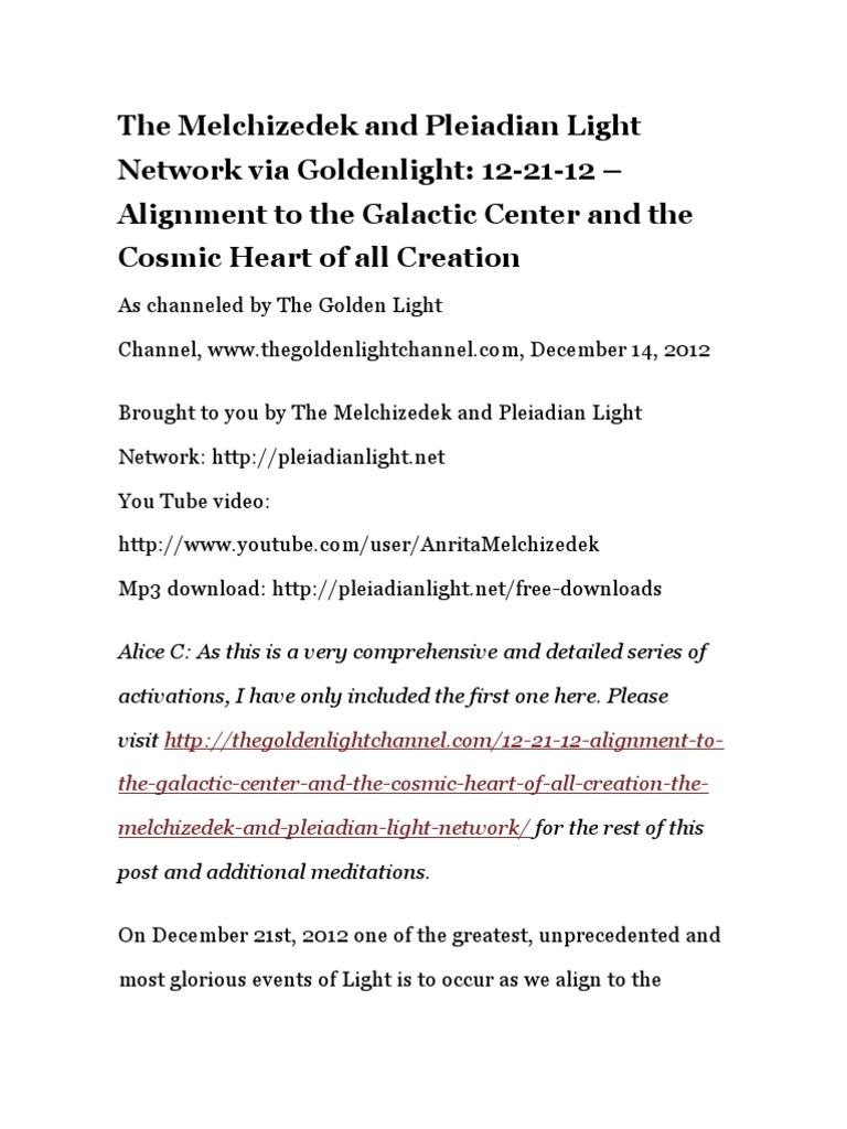 The Melchizedek and Pleiadian Light Network via Goldenlight