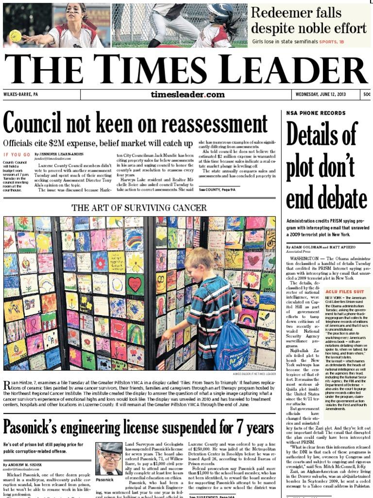 56026799 Times Leader 06-12-2013   United States Postal Service   Drink