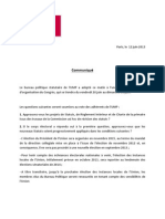 CP Bureau Politique Statutaire - 12 Juin 2013