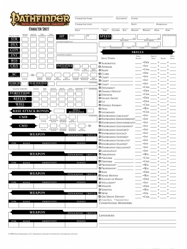 This is a picture of Magic Printable Pathfinder Character Sheet