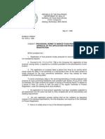 Provisional Permit to Market