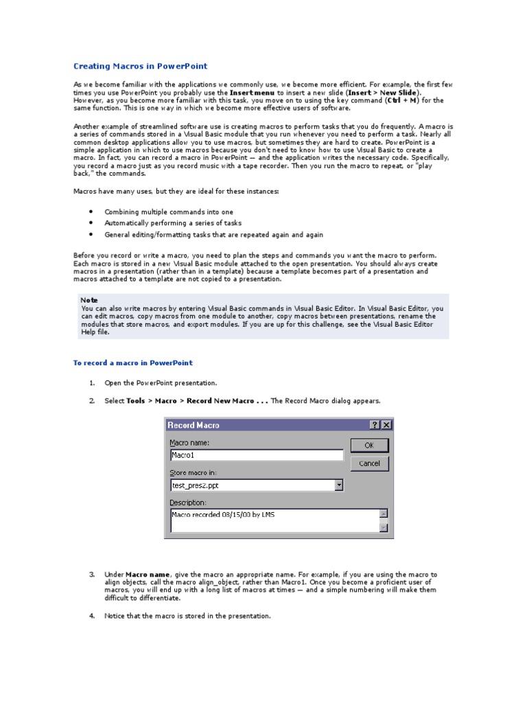 Creating Macros in PowerPoint | Macro (Computer Science