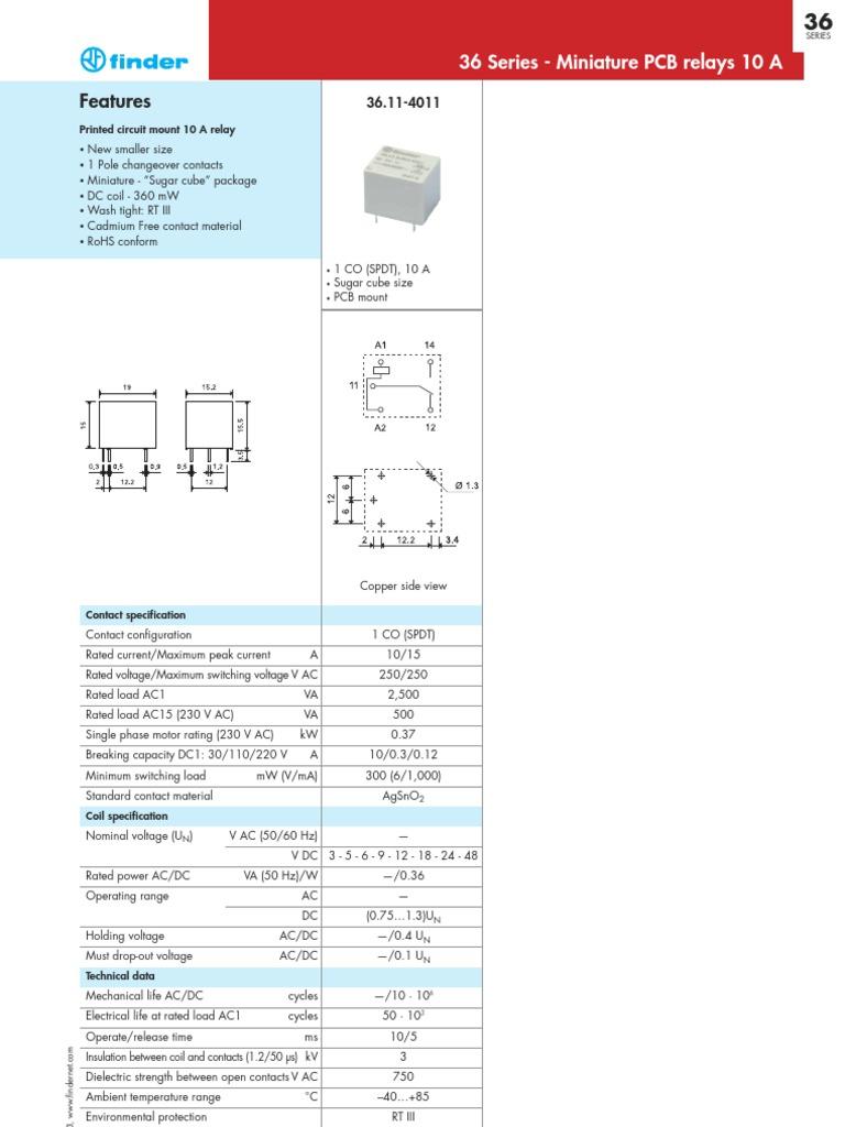 Finder S36 En Relay Switch Spdt 12v Sugar Cube
