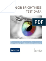 CLO - EMEA Color Brightness Test Data Summary