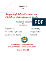 A Study on Impact of Advertisement on Children Behaviour, A case Study of Sirsa, (Haryana)