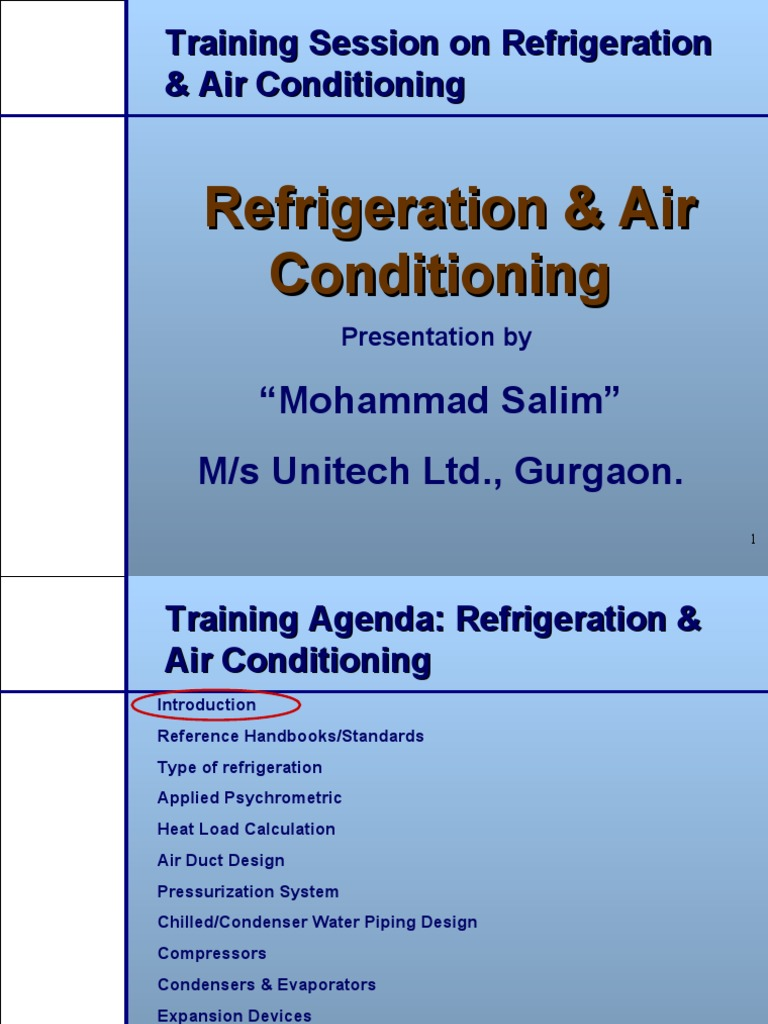 Refrigeration and air conditioning ppt | Air Conditioning