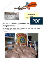 PF faz a maior apreensão de cocaína em Campina Grande