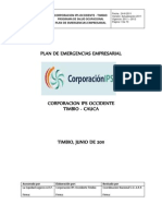 Plan de Emergencias Empresarial Corporacion Ips Occidente Timbio 2011
