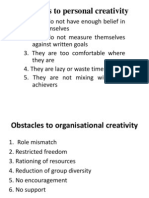 Obstacles to Personal Creativity - W5