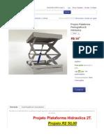 Projeto Plataforma Pantográfica 2t Hidráulica - R$ 50,00 no MercadoLivre