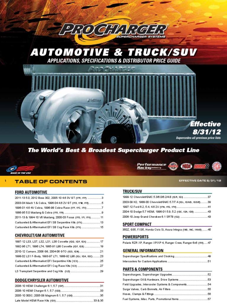 Procharger Specs   Turbocharger   Carburetor