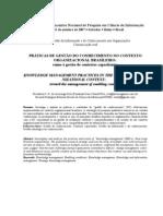 PRÁTICAS DE GESTÃO DO CONHECIMENTO NO CONTEXTO ORGANIZACIONAL - RUMO A GESTÃO DE CONTEXTOS CAPACITANTES