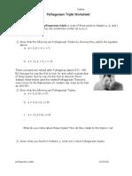 Pythagorean Triples Worksheet