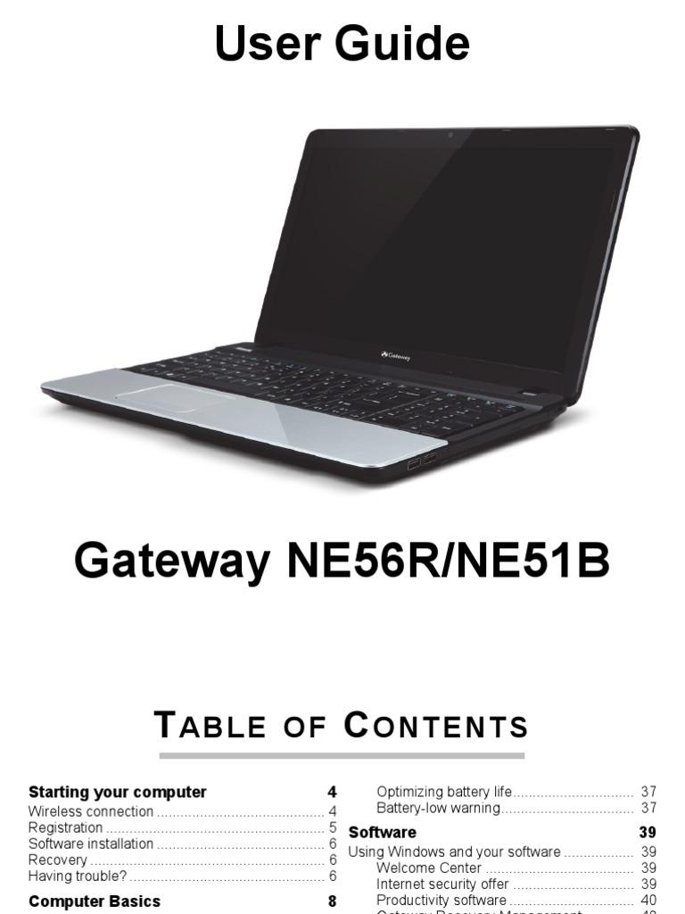 Gateway NE56R / NE51B User Guide / Manual   Secure Digital ...