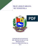 Exposición de Motivos  PRESUPUESTO PUBLICO2013