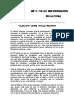 VALORACIÓN CIERRE MÓDULOS DE PENAMOA