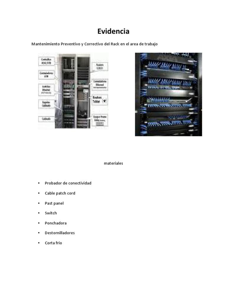 evidencia mantenimiento preventivo y correctivo del rack