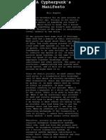 Cypherpunk's Manifesto