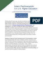 The Modern Psychoanalytic Movement in U.S. Higher Education