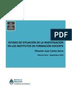 ESTADO DE SITUACIÓN DE LA INVESTIGACIÓN EN LOS INSTITUTOS DE FORMACIÓN DOCENTE(1) (1)