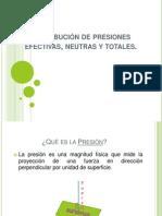 Distribución de presiones efectivas, neutras y totales