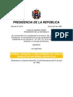 Materiales Radiactivos, Decreto n 2210 Gaceta Oficial n 4418 Del 27-04-1992)