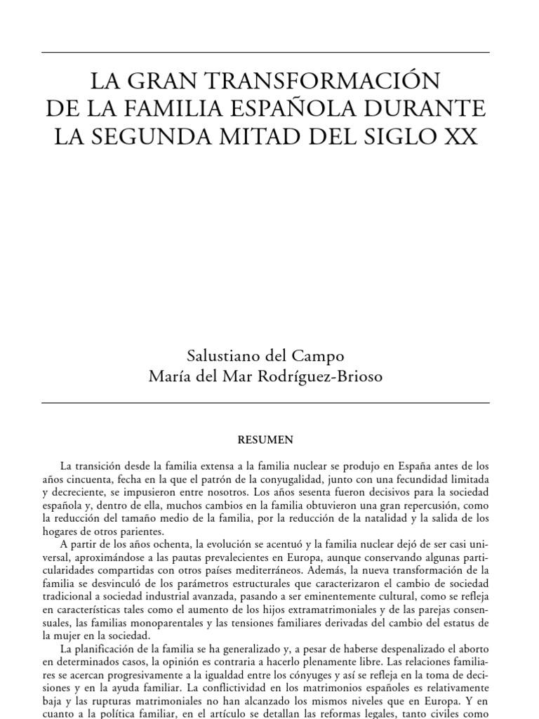 Transformacion de la familia en España Familia Amor