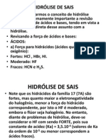 HIDRÓLISE DE SAIS
