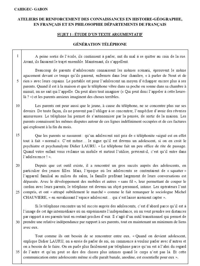 Exemple D Un Texte Argumentatif Pdf - Texte Préféré