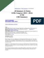 Bill Summary & Status - 113th Congress (2013 - 2014) - S_744 - CRS Summary - THOMAS (Library of Congress)