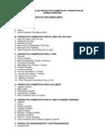 CLASIFICACIÓN DE PRODUCTOS COSMÉTICOS Y PRODUCTOS DE