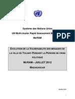 EVOLUTION DE LA VULNERABILITE DES MENAGES DE LA VILLE DE TOLIARY PENDANT LA PERIODE DE CRISE POLITIQUE - MCRAM – JUILLET 2012 - MADAGASCAR