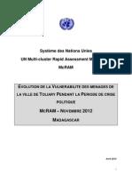 EVOLUTION DE LA VULNERABILITE DES MENAGES DE LA VILLE DE TOLIARY PENDANT LA PERIODE DE CRISE POLITIQUE - MCRAM – NOVEMBRE 2012 - MADAGASCAR