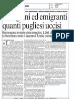 13/06/2013 La Gazzetta del Mezzogiorno. PARTIGIANI ED EMIGRANTI QUANTI PUGLIESI UCCISI