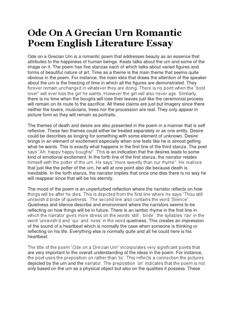 Ode on a Grecian Urn Essay - Words