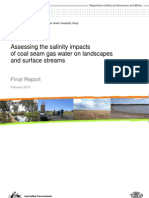 Assessing the salinity impacts of coal seam gas water on landscapes and surface streams - Final Report (February 2013)