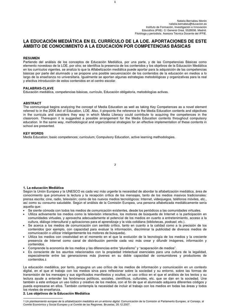 Bernabeu-La educación mediática curriculo LOE