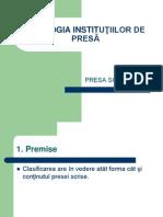 Tipologia Institutiilor de Presa