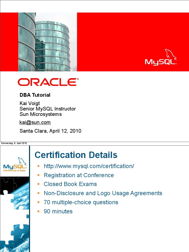 Mysql Dba Certification Tutorial Part 1 Presentation 1pdf My Sql