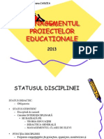 MANAGEMENTUL PROIECTELOR EDUCATIOANLE