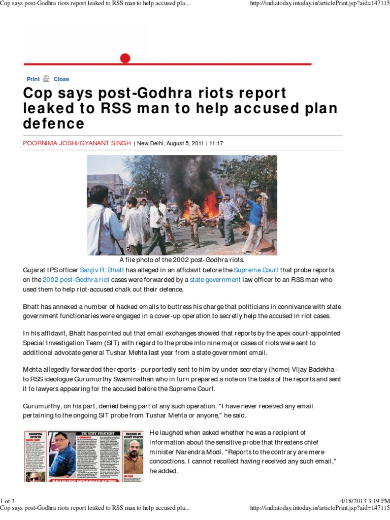 Cop Says Post-Godhra Riots Report Leaked to RSS Man to Help Accused ...