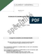 Sciences Economiques Et Sociales Specialite ES 2013