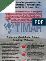 Corporate Social Responsibility (CSR) DALAM OPTIMALISASI