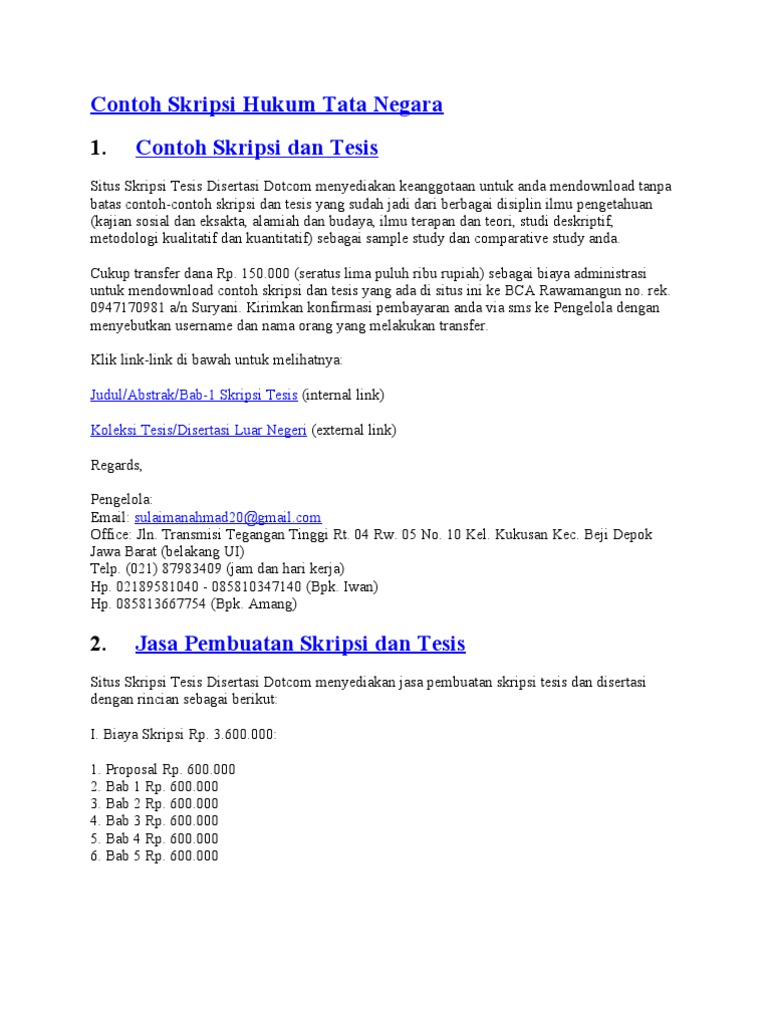 Contoh Skripsi Hukum Tata Negara Doc