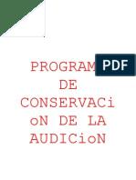 Programa de Conservacion de La Audicion