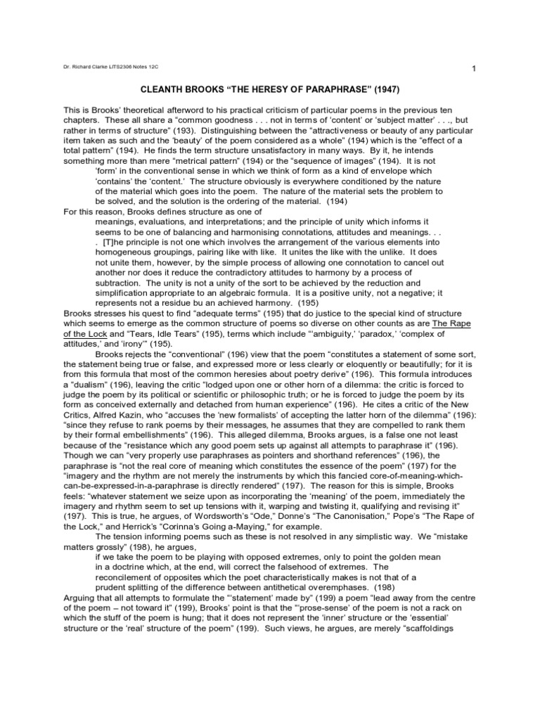 Brook Heresy Of Paraphrase Summary Poetry Proposition The By Cleanth Brooks
