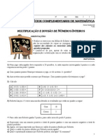 2ª Lista de Exercícios Complementares de Matemática (Multiplicação e divisão de Números Inteiros) Professora Lucimara - 7º ano