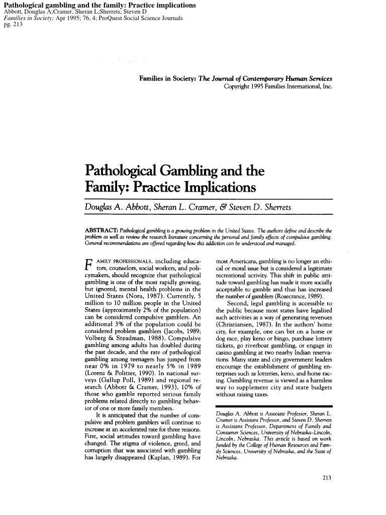 Effects of pathological gambling free gambling web site