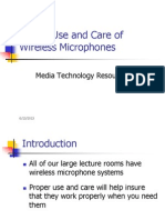 Use and Care of Wireless Microphone